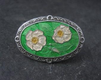 Vintage Enamel Floral Lapel Pin J&W Canada
