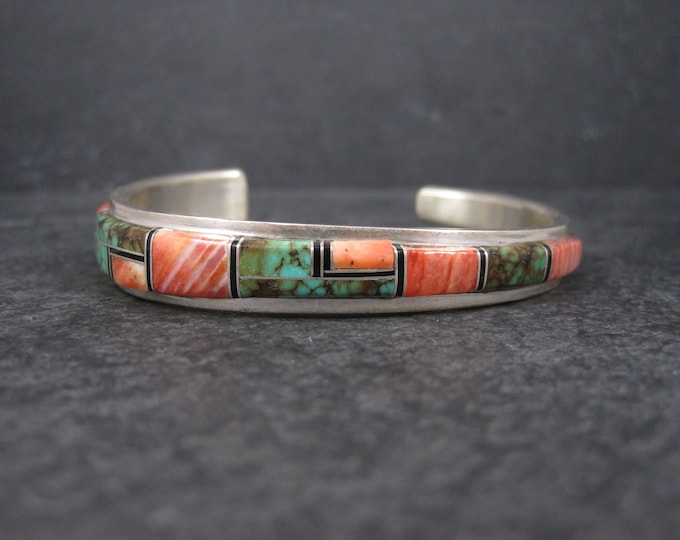 Vintage Navajo Turquoise Spiny Oyster Inlay Cuff Bracelet Wilbert Yazzie