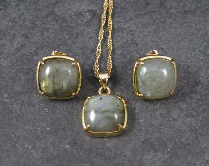 Vintage Labradorite Pendant and Earrings Jewelry Set