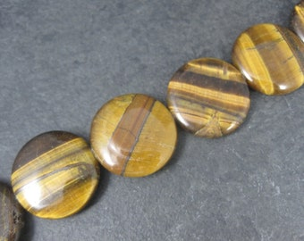 Large Tigers Eye Disk Beads 24mm Bead Gallery Strand