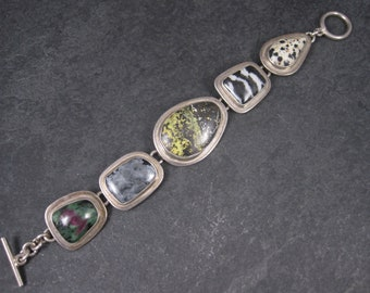 Vintage Mexican Sterling Jasper Toggle Bracelet 7.5 Inches
