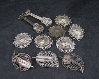 Destash Lot of 11 Vintage Sterling Filigree Brooches