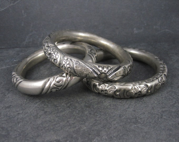 Lot of 3 Chunky Silver Plated Tribal Bangle Bracelets