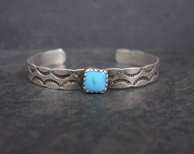 Vintage Southwestern Sterling Turquoise Childs Cuff Bracelet 4.75 Inches