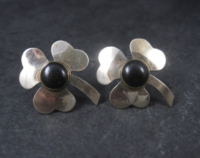 Large Vintage Black Clover Earrings
