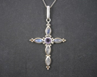 Large 90s Sterling Rainbow Moonstone Amethyst Cross Pendant Necklace
