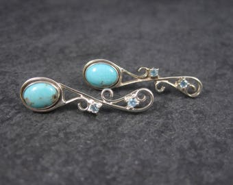 Vintage Sterling Topaz Turquoise Calsilica Interchangeable Earrings