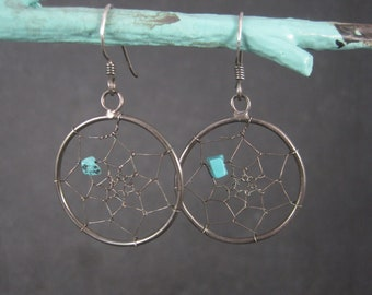 Vintage Sterling Turquoise Dream Catcher Earrings