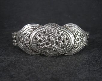 Vintage Sterling Repousse Floral Bracelet 8 Inches