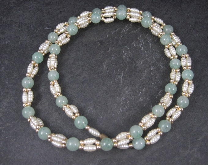 Vintage Aventurine Pearl Necklace 25 Inches