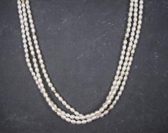 Vintage 14K 3 Strand Freshwater Pearls Necklace
