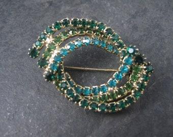 Vintage Green Glass Rhinestone Brooch