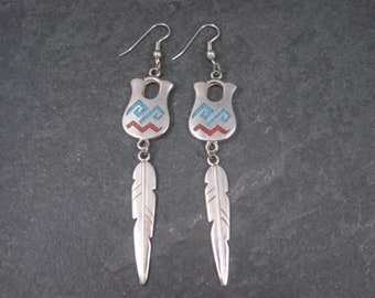 Vintage Southwestern Sterling Turquoise Coral Pot Feather Earrings
