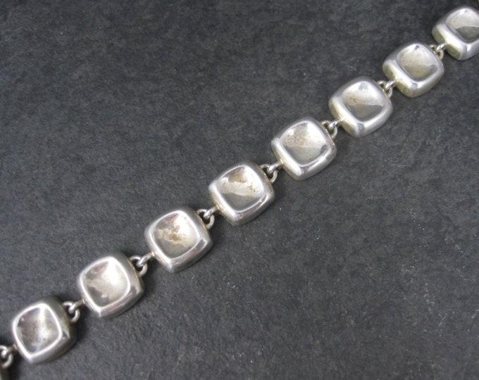 Vintage Retro Sterling Concave Link Bracelet 7 Inches