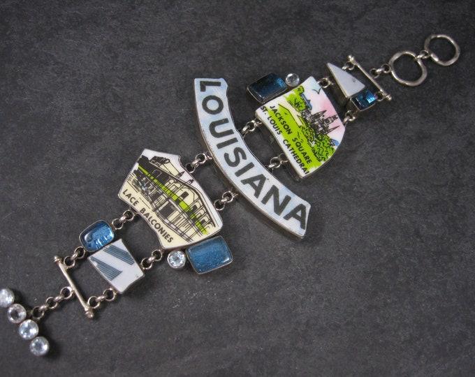 Huge Vintage Designer Sterling Louisiana Bracelet