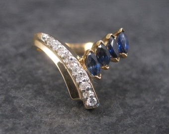Vintage 14K Marquise Sapphire Diamond Ring Size 5.75