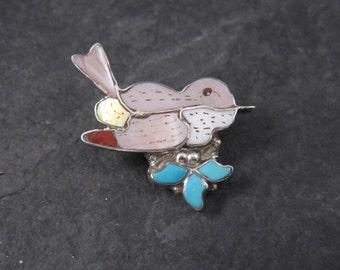 Vintage Zuni Inlay Sparrow Brooch Pendant