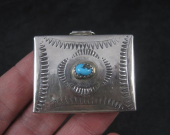 Vintage Southwestern Sterling Turquoise Pill Box