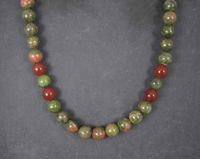 Vintage Sterling Unakite Carnelian Bead Necklace Desert Rose Trading