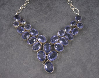 Vintage Silver Plated Amethyst Bib Choker Necklace