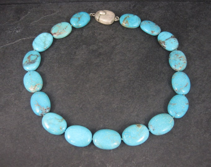 Vintage Sterling Turquoise Bead Necklace 18 Inches
