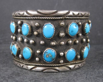 Wide Vintage Turquoise Cuff Bracelet 6.5 Inches Dead Pawn