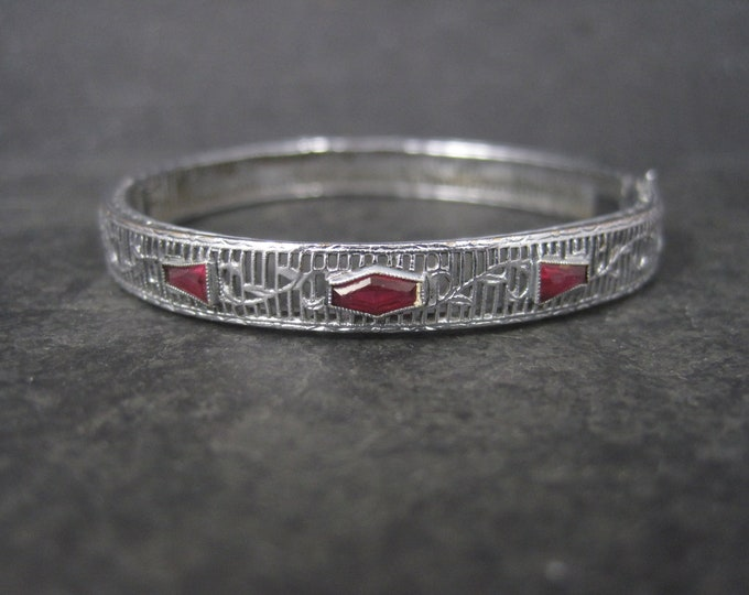 Childs Art Deco Sterling Ruby Filigree Bangle Bracelet 5.5 Inches