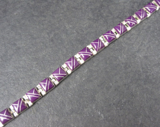 Southwestern Sterling Sugilite Inlay Bracelet 7 Inches