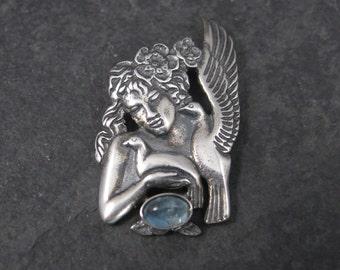 Vintage Aphrodite Pendant Sterling Aquamarine Divine Lady of the Doves