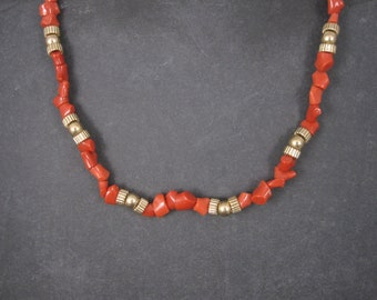 Vintage 14K Coral Necklace 17 Inches