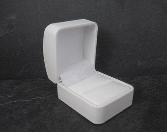 White Leatherette Engagement Ring Box