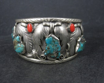 Large Vintage Southwestern Nickel Silver Turquoise Coral Cuff Bracelet 7.5 Inches