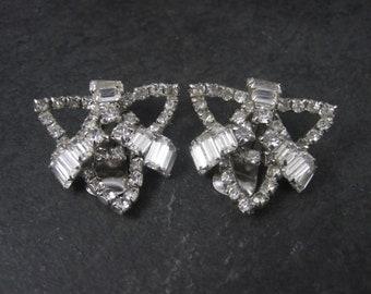 Large Vintage Clear Rhinestone Clip On Earrings
