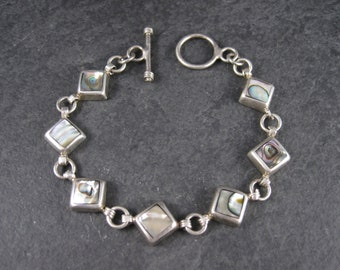 Vintage Abalone Toggle Bracelet Mexican Sterling 7 Inches