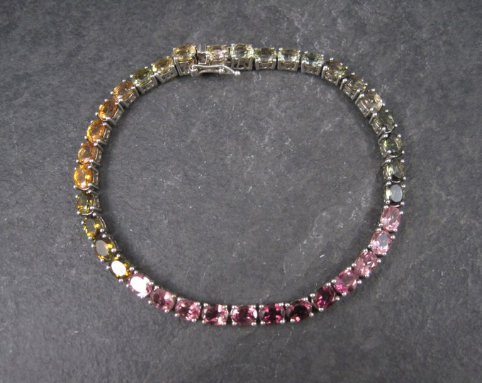 Vintage Sterling Rainbow Tourmaline Tennis Bracelet 7.5 Inches