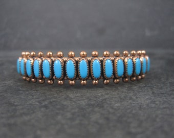 Vintage Southwestern Copper Turquoise Cuff Bracelet 6 Inches