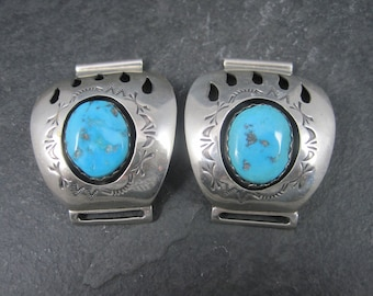 Estate Sterling Navajo Turquoise Bear Paw Watch Band Tips Teddy Goodluck
