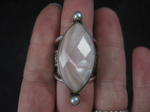 Estate Sajen Sterling Pink Mother of Pearl Ring Size 7