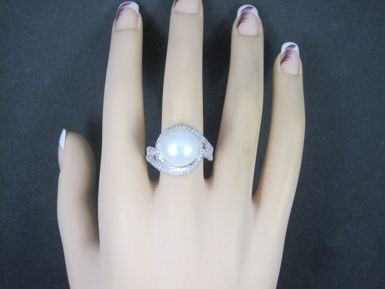 Estate Sterling Pearl Cz Ring Size 10