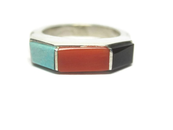 Vintage Navajo Ring Turquoise Coral /& Onyx inlay Sterling Size 6 12 Ring onyx and turquoise inlay Navajo