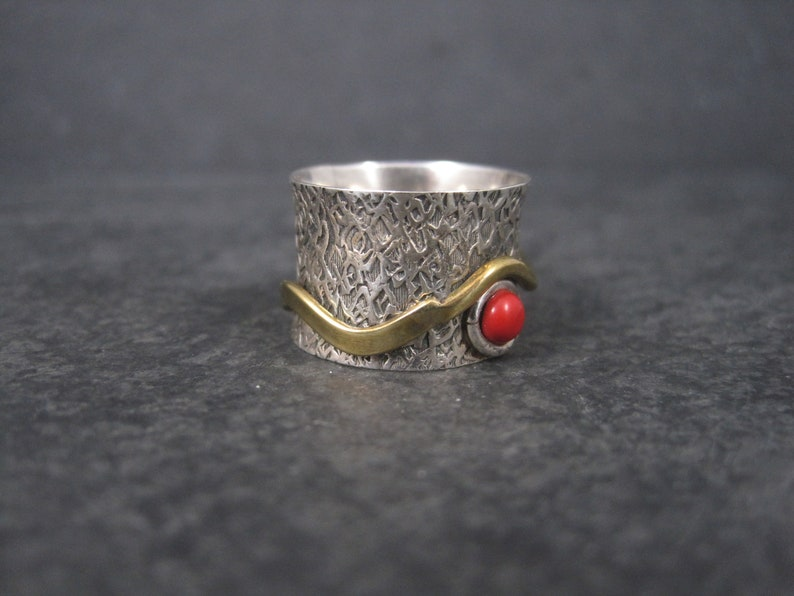 Estate 90s Sterling Red Glass Fidget Spinner Worry Ring Size 6