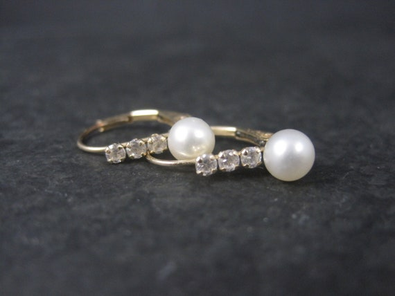 Dainty Estate 10K Pearl Lever Earrings