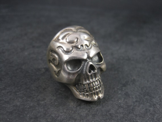 Mens Estate Sterling Vampire Skull Ring Size 11 - image 3
