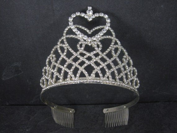 Estate Rhinestone Heart Wedding Tiara Crown
