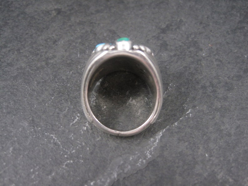 Heavy Vintage Southwestern Sterling Turquoise Ring Size 9