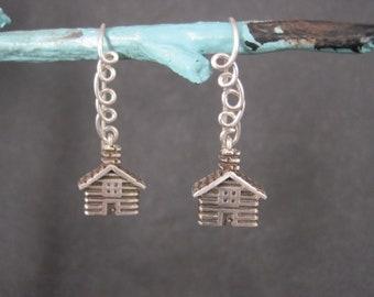 Estate Artisan Sterling Cabin Earrings