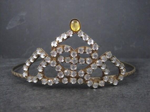 Antique Art Deco Heart Rhinestone Tiara Crown