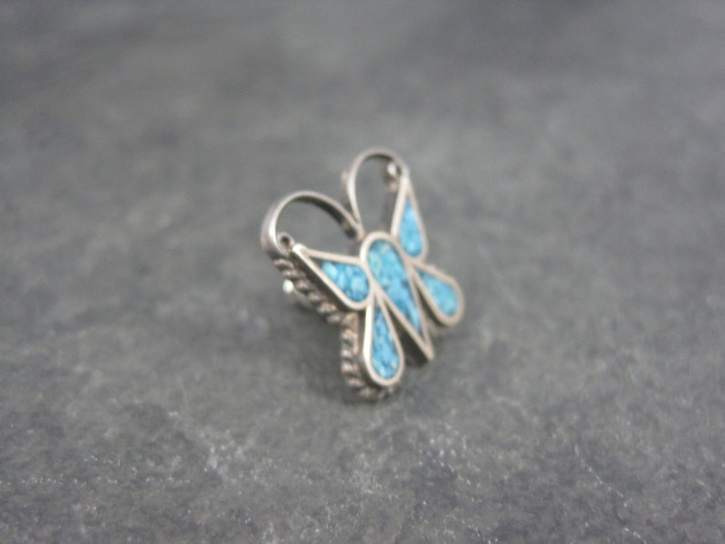 Vintage Southwestern Sterling Turquoise Butterfly Tie Tack Lapel Pin