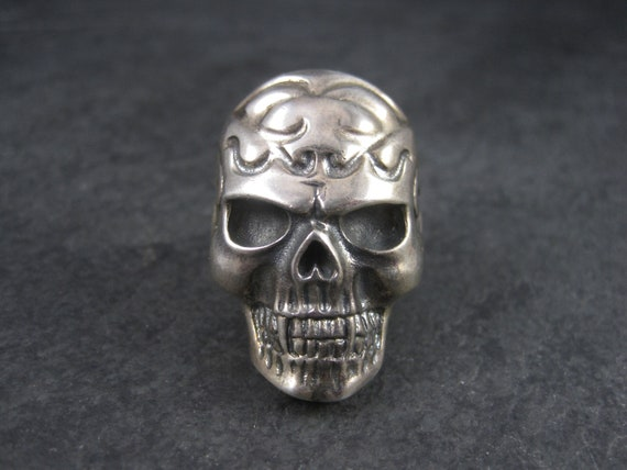Mens Estate Sterling Vampire Skull Ring Size 11 - image 1