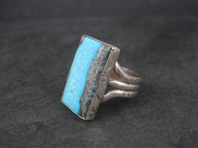 Large Estate Southwestern Sterling Turquoise Ring Size 11